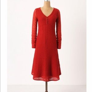 Anthro Sparrow Red Knit Midi Length Holiday Dress